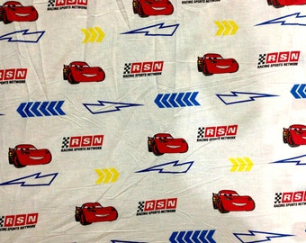 Disney Cars RSN Lightning McQueen All Over FABRIC - PolyCotton - Different Sizes