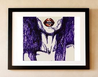 "Fine art print, marker drawing, woman's lips, ""Mouth,"" 8x10"