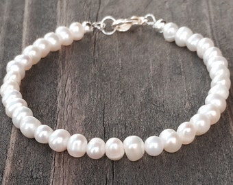 FREE SHIPPING in USA!!  Cultured Freshwater 3mm Pearl Bracelet Sterling Silver Clasp Nylon coated Stainless Steel Cord Custom Size Available