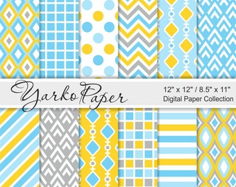 Blue And Yellow Digital Paper Pack, Chevron, Polka Dot, Stripes, Geometric Paper, Digital Background, 12 Sheets - Instant Download