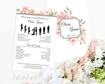 Printable Wedding Program – Silhouette Wedding Programs – Watercolor Order of Ceremony – Silhouette Bridal Party – Custom Silhouettes