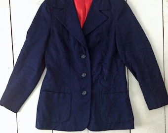 1960's Vtg Ed Behan's Tweed Shop Navy Wool Tweed Jacket
