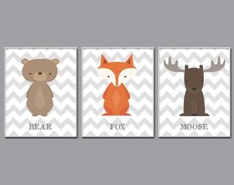 Baby Boy Nursery Art,  Fox, Moose and Bear Nursery Art, Suits Brown Nursery, Nursery Print Decor- H561- Custom Color-Unframed