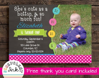 First Birthday Invitation Cute as a Button - Printable 1st Birthday Party Invite - First Birthday Girl - Chalkboard Invitation