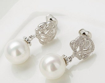 Pearl Drop Bridal Tear Drop Earrings 1920s Style Silver and Pearl Tear Drop Earrings