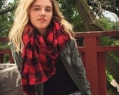 BUFFALO plaid scarf // soft red plaid flannel oversized scarf