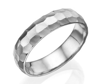 5mm Hammered Rounded Wedding Ring in White Gold