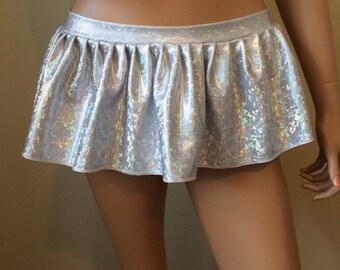 White Hologram Mini Rave Skirt