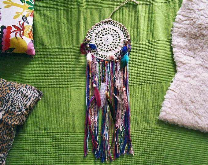 Wall Hanging Gypsy Dreamcatcher - Boho Bedroom Wall Decor - Bohemian Home - Gypsy Style Beads Dream Catcher - Colorful Hippie Decor