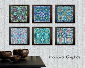 "MOROCCAN TILE, Wall Art Print – 6 digital posters - 8"" x 8 "" each sheet – Digital Download- Instant Download- Wall decor"