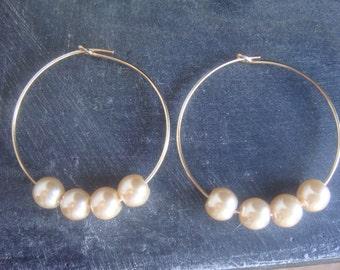 Pearl Gold Hoop Earrings, 14K Gold Filled, June Birthstone Earrings