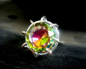Rare Rainbow Crystal Ball Ring - Limited Edition
