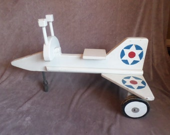Vintage Wooden Childrens Ride-on Airplane / Jet