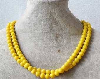 yellow pearl necklace,double strand yellow bead necklace,bridesmaid necklace,statement necklace,yellow necklace,cheap glass pearl necklace