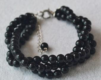 Black Pearl Bracelet,Black Bead Bracelets,handmade Bracelet,Wedding Jewelery,Triple Pearl Bracelet,Bracelets,Bridesmaid Bracelets