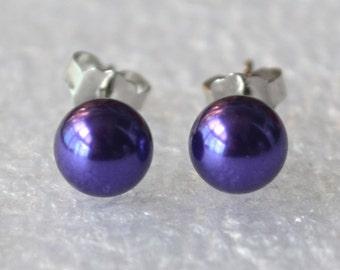 small purple pearl earrings, 6mm purple glass bead earring, purple stud earrings, bridesmaid earrings, purple color earrings