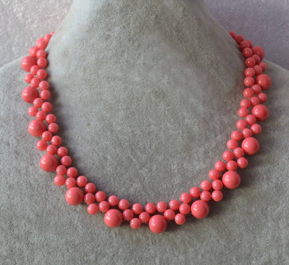 Pink Coral Bead Necklace Pink Coral Color Glass Pearl