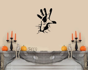Scary Hand Coming Out of the Wall Halloween Wall Decal Black 10x12