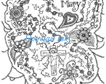 Printable Hail Mary Catholic Prayer Coloring Page for Grownups!