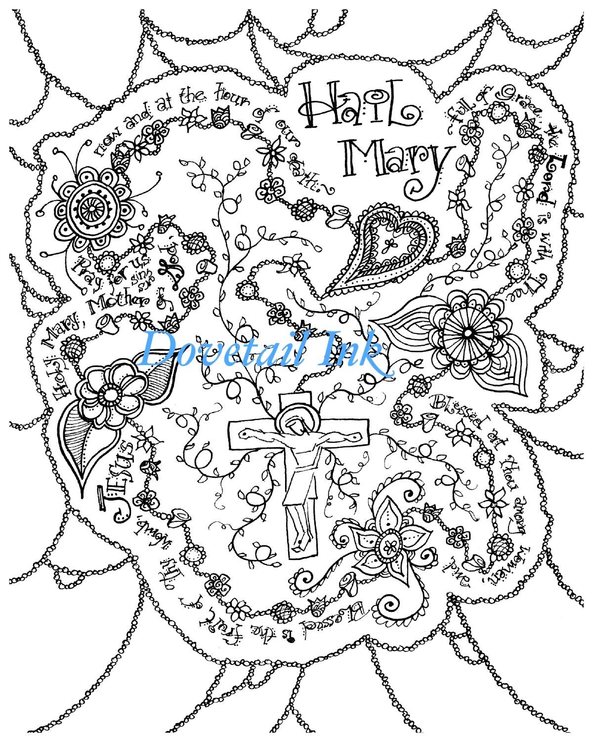 printable hail mary catholic prayer coloring page for