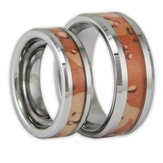 couples camo tungsten wedding ring set his by