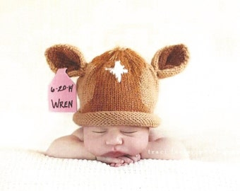 Knit Newborn Brown Jersey Calf Hat