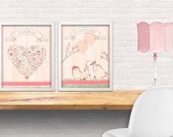 set of 2 art prints - garden theme art print , girls art, art for little girls, , petit jardin, little bunny