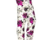 Womens Leggings - Fuschia Flowered Leggings