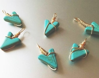 Wire-Wrapped Turquoise Arrow Pendant Necklace