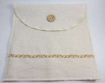 Reusable Sandwich Bag/ Snack Bag in Organic Cotton ~ Classic