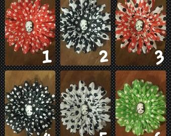 Hair Clip, Hair Flower, Polka Dot, Skeleton Cameo, Hand Made