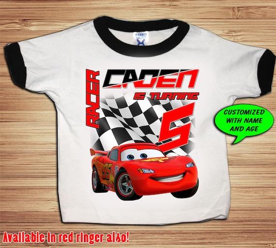 Personalized Cars Birthday Ringer T Shirt - lightning mcqueen
