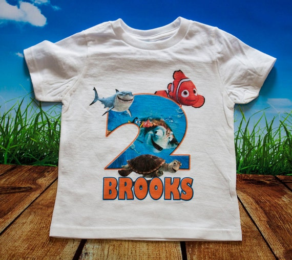 Finding Nemo Birthday Shirt - Personalized with Name and Age, Disney,shark, fish, dory, marlin, bruce