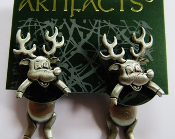 JJ Jonette Pewter 3-D Pierced Reindeer Earrings