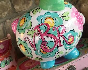 Piggy Bank, Ceramic Piggy Bank, Personalized Piggy Bank