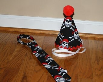 boys first birthday hat and tie with pirates scull and crossbones in black red and white, 1st birthday hat for boys, photo prop cake smash