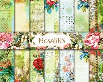 Floral Digital Paper, Floral Wallpaper, Floral Pattern, Floral Backgrounds, Vintage Floral Paper, Vintage Flower, Vintage Paper, Floral