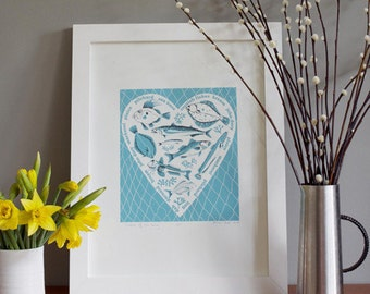 Cornish Fishes screen print Catch of the Day unframed