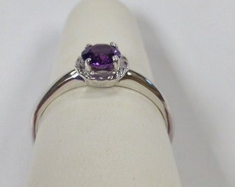 Genuine Amethyst Solitaire Ring Sterling Silver