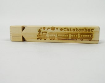Laser ENGRAVED Personalized TRAIN WHISTLE