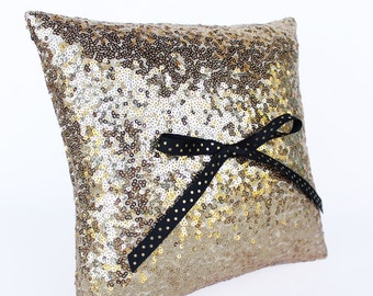 Ring Bearer Pillow, Gold Sequin Pillow with Black and Gold Polka Dot Bow, 10 in. x 10 in.