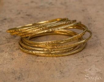 Gold Hammered Bangle, Thin Gold Bracelet Bangle, Textured Bangle, Gold Stacking Bracelet, Moroccan Boho Jewelry, Sagia