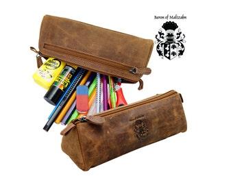 Pencil case DEMOCRIT brown genuine leather - BARON of MALTZAHN