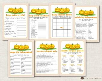 Pumpkin Baby Shower Games   Fall Baby Shower Games, Halloween Baby Shower  Games, Baby