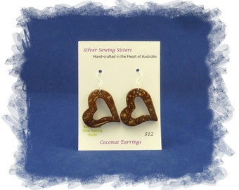 Coconut Earrings with Sterling Silver Earring Hooks ~ heart