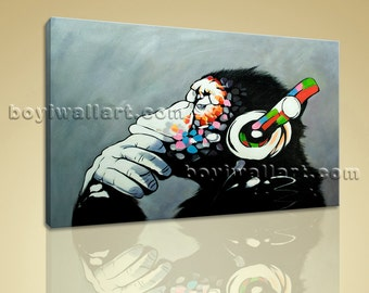 Picture Of Thinking Monkey With Headphone Large Wall Art Painting On Canvas, Large Abstract Wall Art, Bedroom, Periglacial Blue