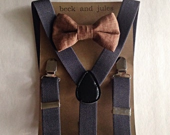 Boys suspenders with tobacco colored linen clip bow tie
