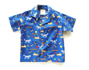 SALE - Boys button up shirt - boys cotton shirt - toddler boys shirt - boys shirt with dogs - boys organic cotton shirt - 4T boys shirt
