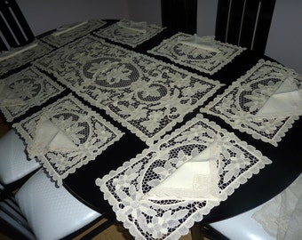 Vintage Lace Placemats Runner Napkins Set of Eight - Ecru