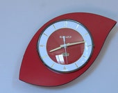 Vintage French Wall Clock Red Formica Pebble Design
